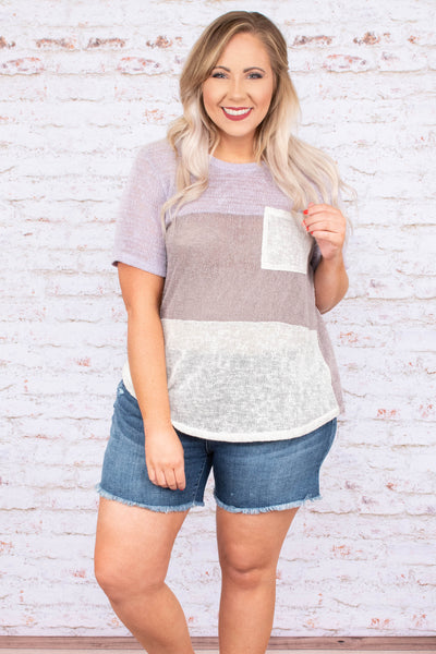 Soft Smiles Top, Lavender-Taupe