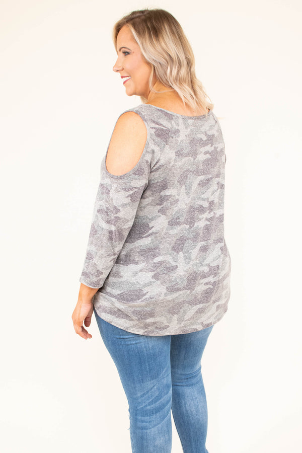 shirt, three quarter sleeve, cold shoulder, knotted hem, drapey, comfy, gray, camo, fall, winter