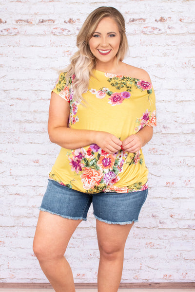 top, short sleeve, yellow, floral, pink, twist front, off the shoulder, spring, summer