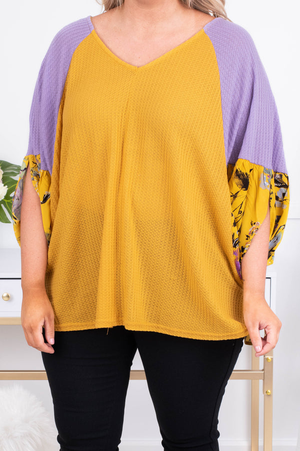 shirt, three quarter sleeve, vneck, flowy, drapey sleeves, waffle knit, golden, purple sleeves, floral sleeves, floral back, golden, purple, gray, black, comfy