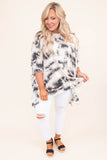 tunic, three quarter sleeve, long, asymmetrical hem, flowy, white, black, tie dye, comfy