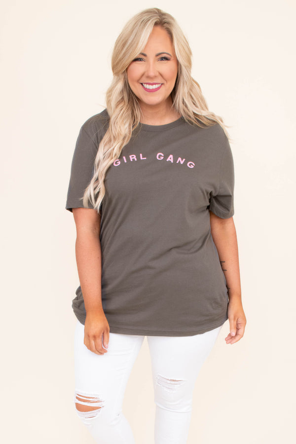 tshirt, short sleeve, curved hem, long, loose, charcoal, graphic, girl gang, pink, comfy
