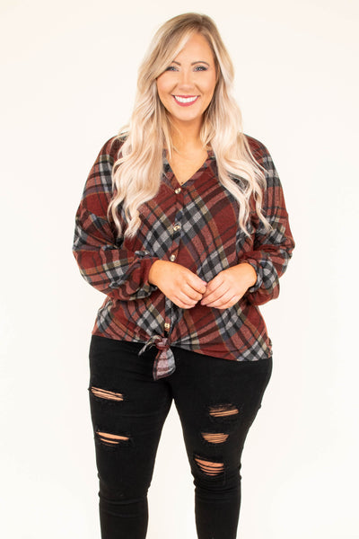 Campfire Chic Top, Burgundy