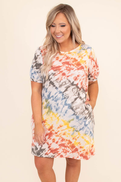 dress, short dress, short sleeve. tie dye, yellow, orange, blue, comfy, straight fit, pockets