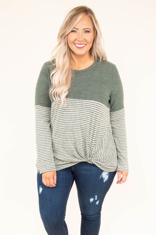 shirt, long sleeve, twisted hem, short, longer back, olive, stripes, colorblock, comfy, fall, winter