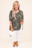 shirt, short sleeve, loose sleeves, vneck, long, side slits, flowy, green, camo, comfy