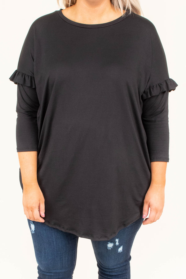 shirt, three quarter sleeve, ruffle sleeve, long, curved hem, black, solid, comfy, fall, winter