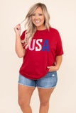 shirt, tee shirt, graphic tee, red, usa, americana, pink, white, blue