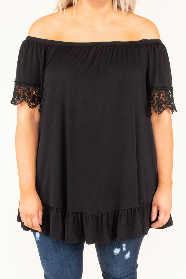 shirt, shirt sleeve, off the shoulder, lace sleeve hems, ruffle hem, flowy, black, long, comfy