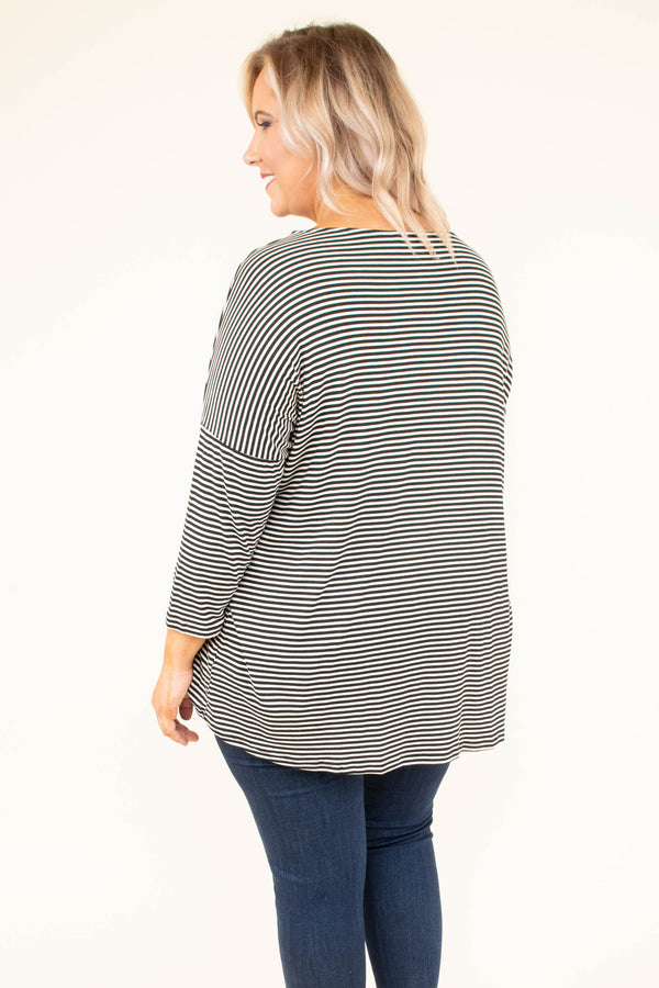shirt, long sleeve, scoop neck, black, white, striped, loose, comfy