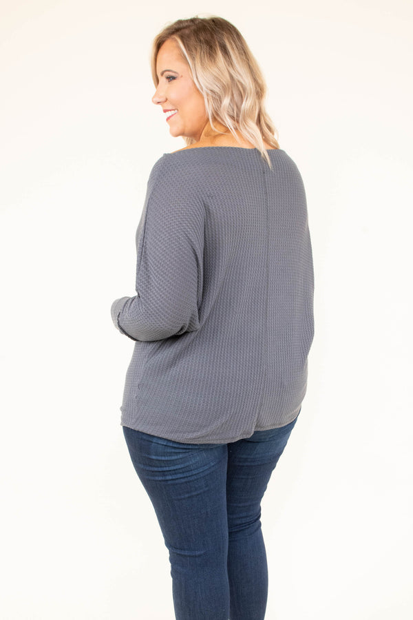 shirt, long sleeve, off the shoulder, short, waffle knit, comfy, charcoal, fall, winter