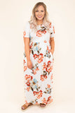 dress, short sleeve, orange, blue, floral, ivory, pockets, short sleeve