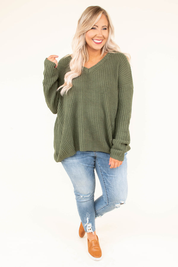 sweater, long sleeve, vneck, crisscross back, loose, olive, solid, comfy, fall, winter