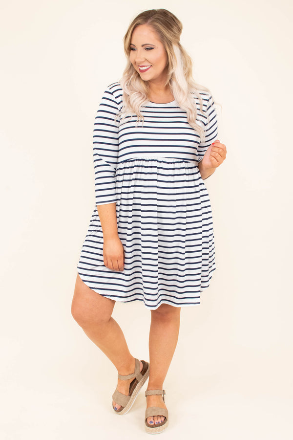 dress, short, three quarter sleeve, babydoll, flowy, longer back, navy, white, striped, comfy