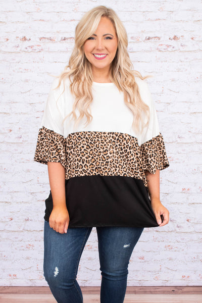 shirt, short sleeve, long, flowy, wide sleeves, white, black, brown, leopard, colorblock, comfy