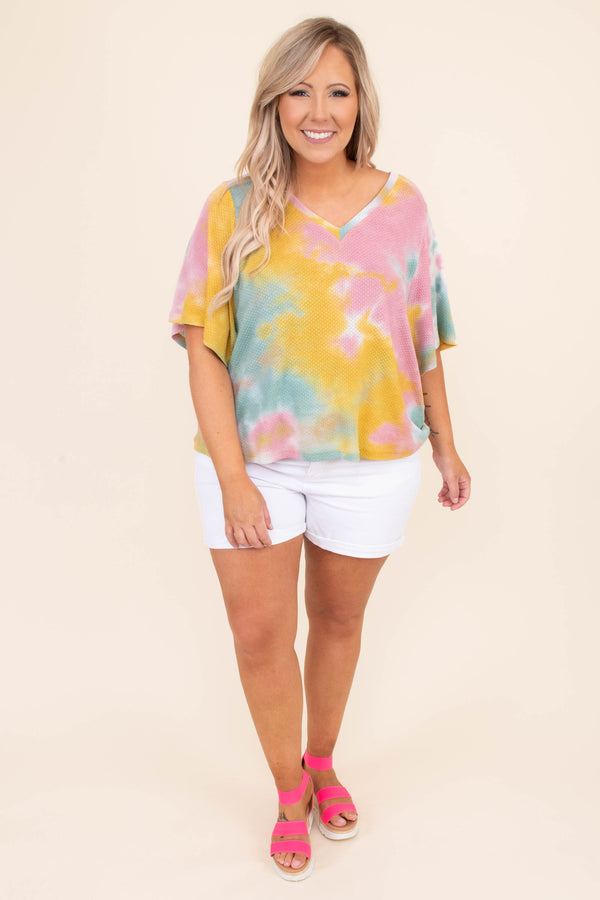 shirt, short sleeve, loose, flowy, tie dye, yellow, pink, green