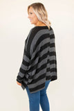 shirt, long sleeve, long, asymmetrical hem, scoop neck, flowy, black, gray, striped, fall, winter, comfy
