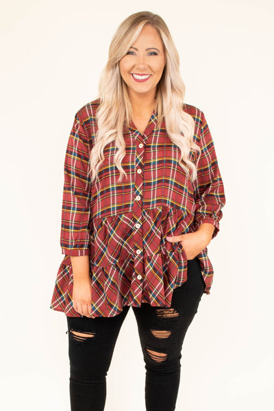 top, blouse, three quarter, baby doll, plaid, red, black, button detail