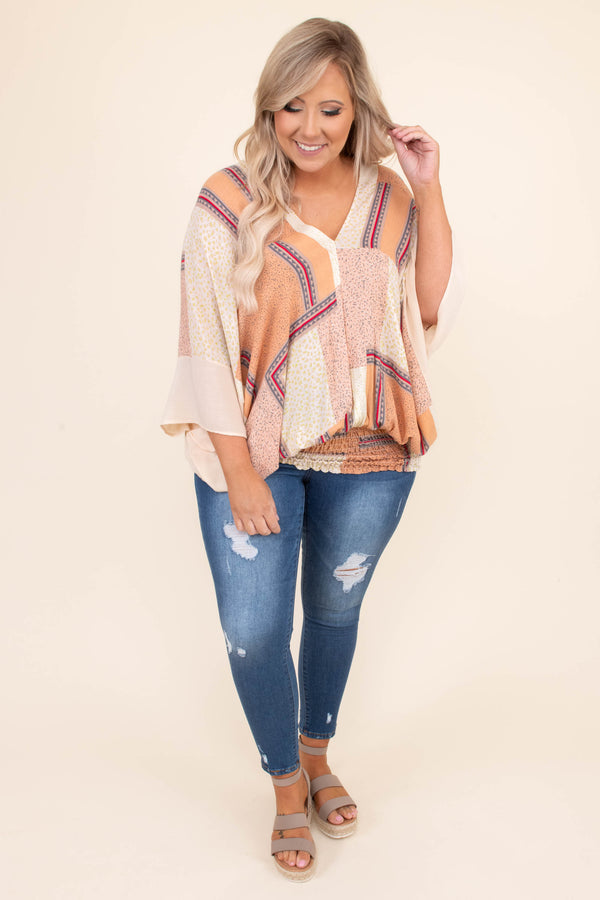 shirt, three quarter sleeve, print, asymmetrical print, v neck, cinched hem, loose, comfy, peach