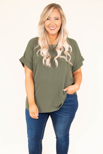 shirt, short sleeve, cuffed sleeve, flowy, olive, comfy