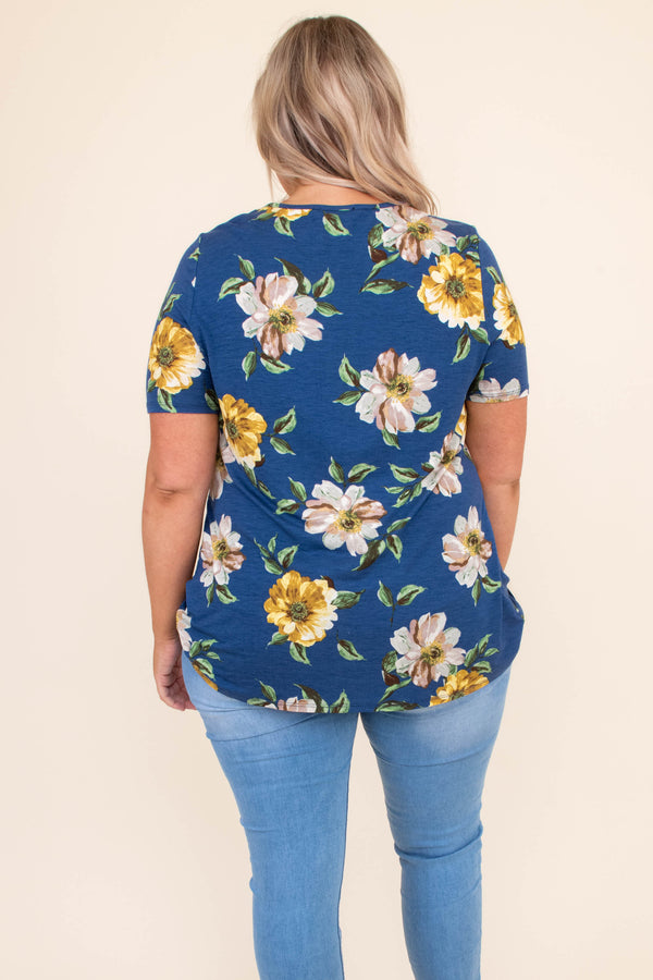 shirt, short sleeve, knotted hemline, floral, blue, navy, pink, yellow, green, curved hemline