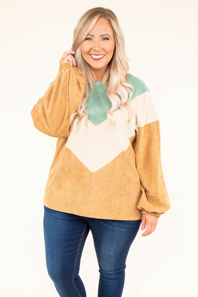 pullover, long sleeves, bubble sleeves, green, off white, camel, chevron, corduroy, comfy, cozy, fall, winter