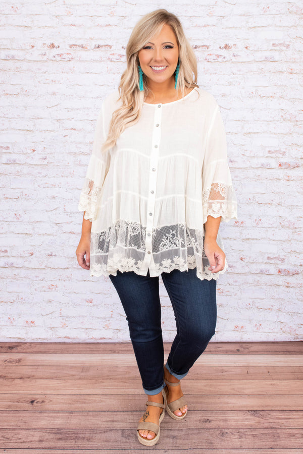 shirt, blouse, three quarter sleeve, lace dealing, button front, loose, flowy, comfy, off white