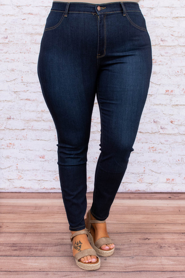 jeans, skinny jeans, no distressing, dark wash, blue