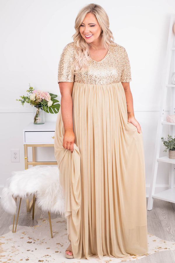 dress, maxi, short sleeve, vneck, glitter top, gold, flowy, comfy