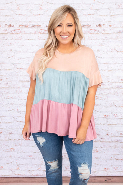 shirt, top, short sleeve, baby doll, color block, multi, taupe, blue, pink, ruffle sleeve detailing