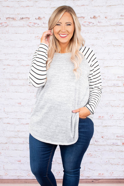 shirt, long sleeve, curved hem, gray, heathered, striped sleeves, white, black, comfy, flowy, fall, winter