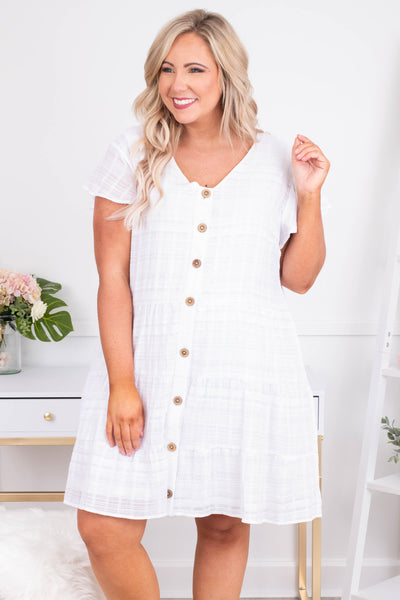 dress, short, short sleeve, vneck, button down, flowy, white, comfy, spring, summer