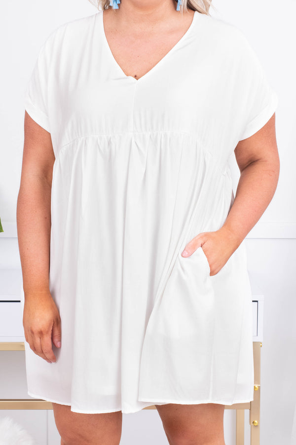 dress, short, short sleeve, vneck, babydoll, pockets, flowy, white, comfy, spring, summer
