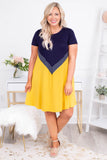dress, short, short sleeve, flowy, mustard, white, navy, chevron, comfy, spring, summer
