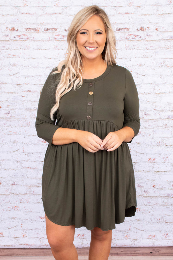 dress, baby doll, three quarter sleeve, button front, curved hem, olive, green, loose, comfy