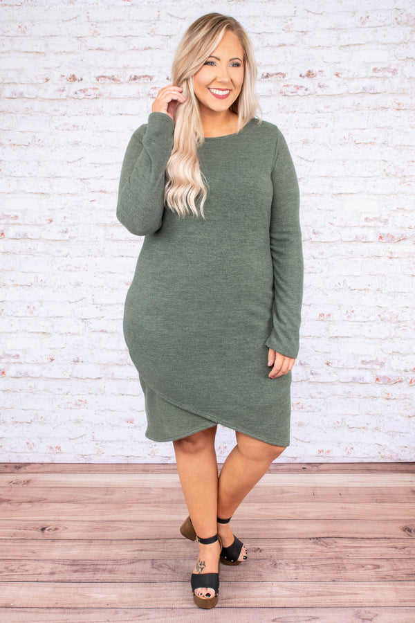 dress, short, long sleeve, olive, comfy, wrap hem
