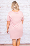 dress, knotted hemline, short, above the knee, blush, v neck, short sleeve, loose, comfy