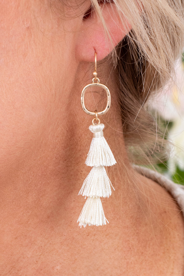earrings, dangly, tassel, tiered, white, gold hardware
