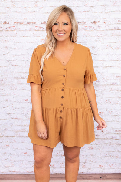 romper, shorts, short sleeve, v neck, button front, mustard, ruffle design, spring, summer, loose, comfy