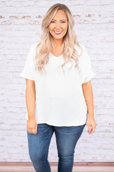 shirt, short sleeve, vneck, flowy, white, comfy, wide sleeves