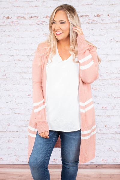 So Fresh Cardigan, Pink-Ivory