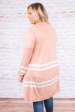 cardigan, long sleeve, blush, striped, ivory, flowy, knit