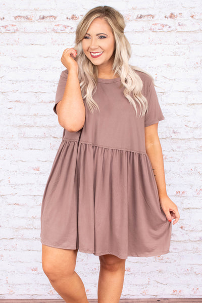 dress, short, short sleeve, babydoll, ruffled, flowy, latte, solid, comfy