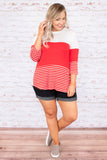 shirt, three quarter sleeve, curved hem, white, red, stripe, colorblock, comfy