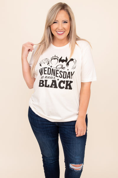 top, tee, t-shirt, white, graphic, short sleeve, Halloween, wednesday