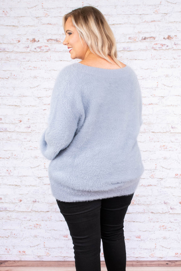 sweater, long sleeve, bubble sleeves, vneck, fuzzy, blue gray, comfy, fall, winter