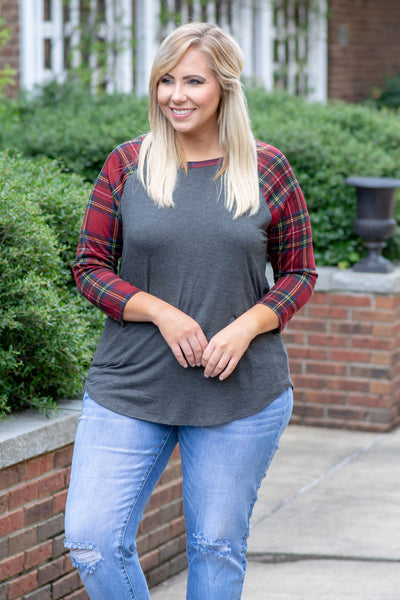 shirt, three quarter sleeve, curved hem, charcoal, solid, plaid sleeves, red, comfy, fall, winter