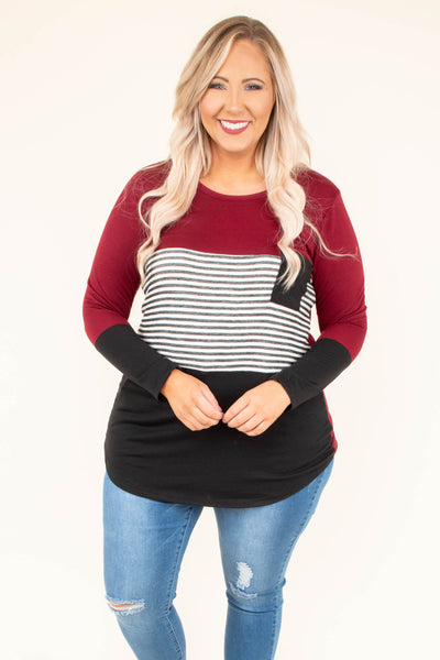 Blocked Off Top, Burgundy-Black