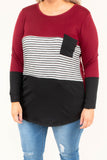 shirt, long sleeve, curved hem, scoop neck, chest pocket, burgundy, black, gray, white, stripes, colorblock, comfy, fall, winter