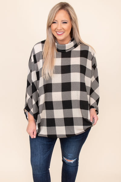 top, cardigan, white, black, plaid, three quarter, turtle neck